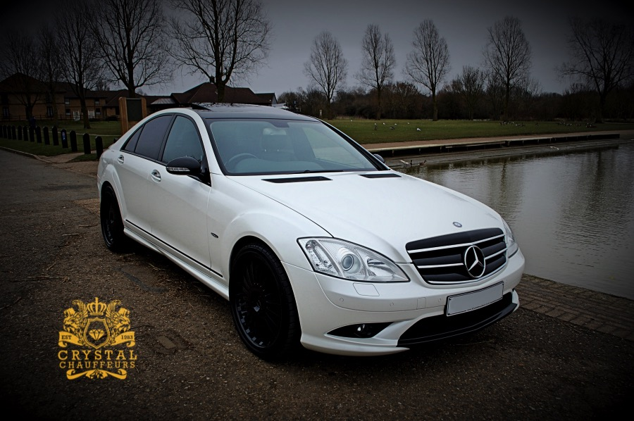 White Mercedes S Class Executive Wedding Car Hire